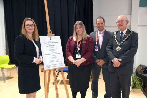 Pictured are Kirsty Williams, Fiona Kite, Paul Culyer, and Cllr Aden Brinn, Chairman of Pembrokeshire County Council.