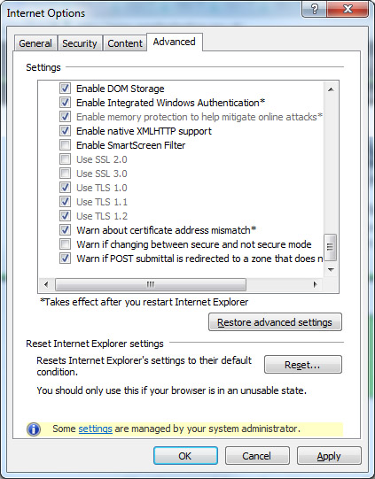 TLS security Internet Explorer